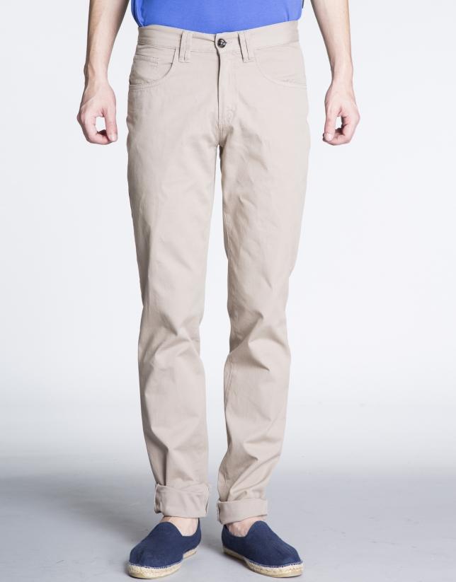 Pantalón beige sport microdibujo