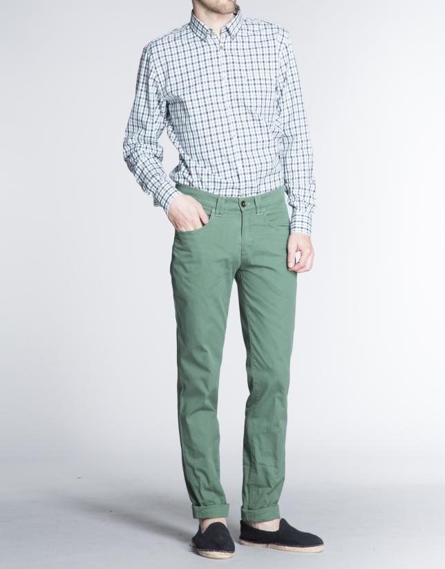 Pantalon ville vert à micro-motifs