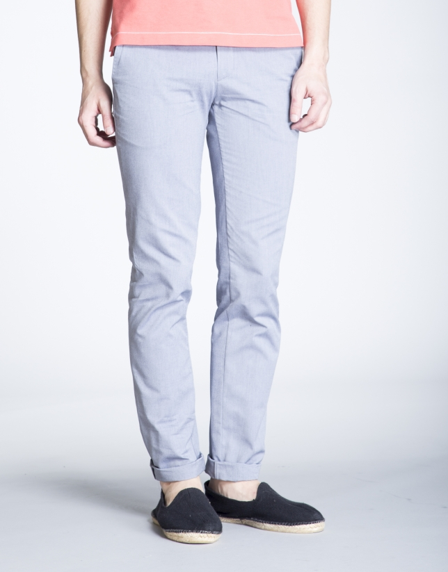 Blue herringbone sports pants