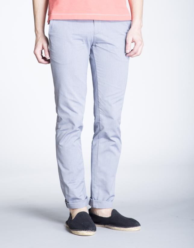 Pantalon ville bleu à chevrons