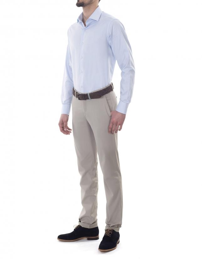Pantalon ville ajusté beige