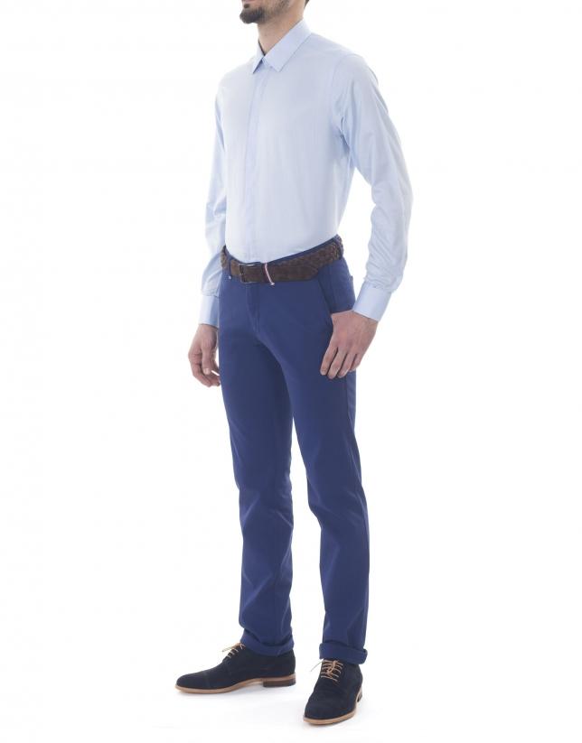 Pantalon ville ajusté bleu roi