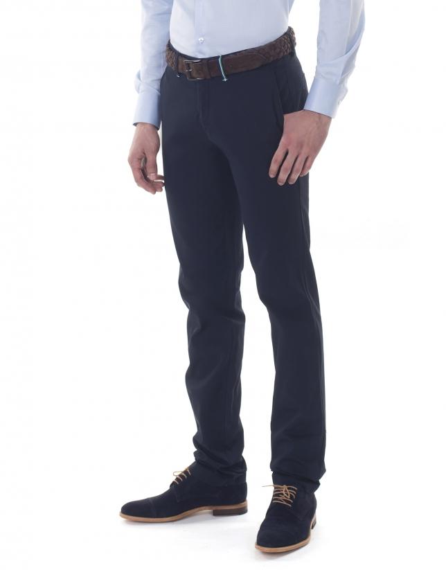 Pantalon ville ajusté bleu marine