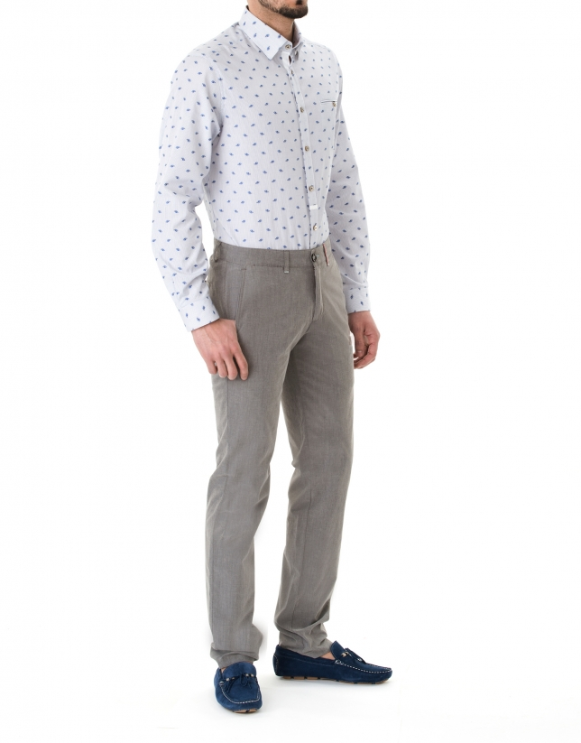 Pantalon ville ajusté gris à micromotifs