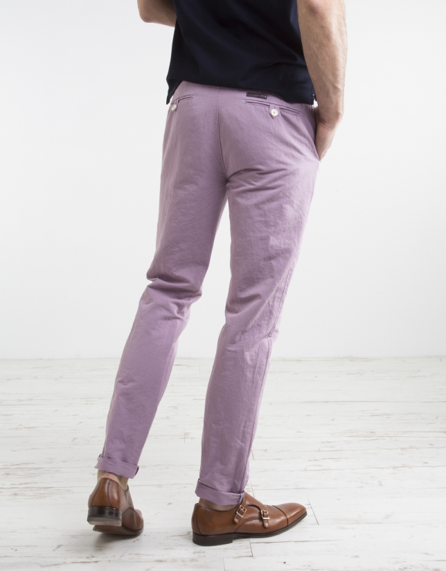 Pantalon chino mauve