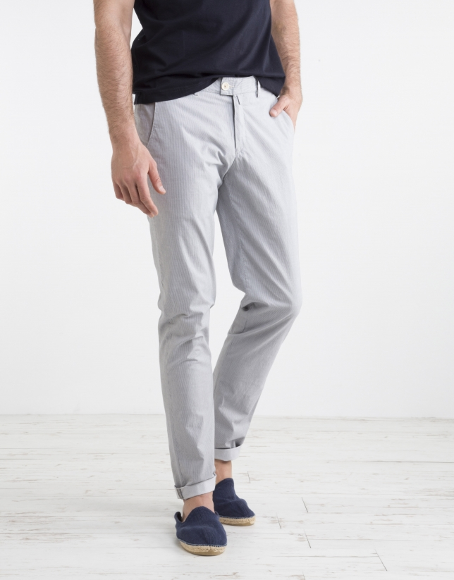 Pinstriped chino pants