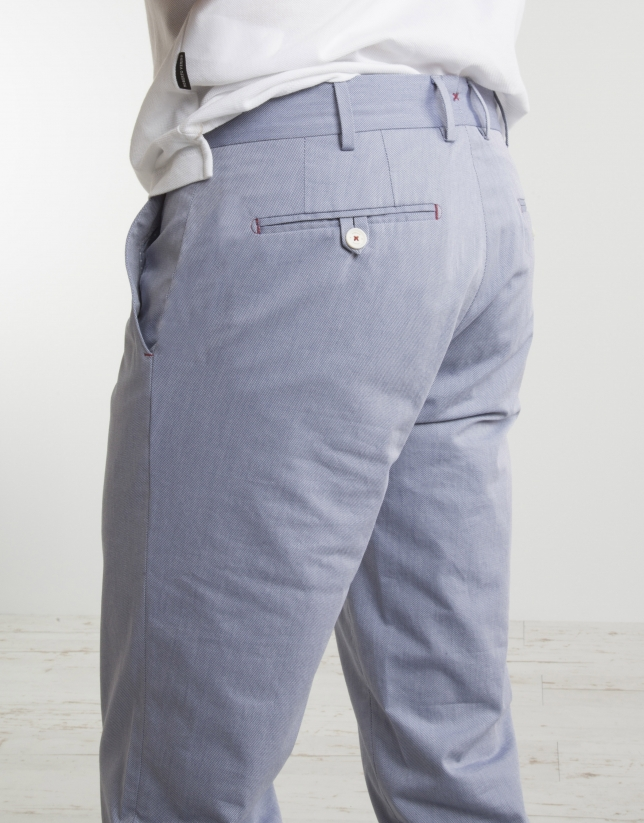Pantalon chino structuré bleu ciel
