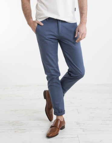 Pantalon chino structuré bleu