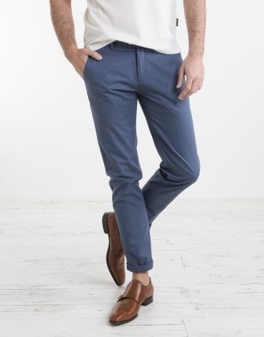 Pantalon chino structuré bleu marine