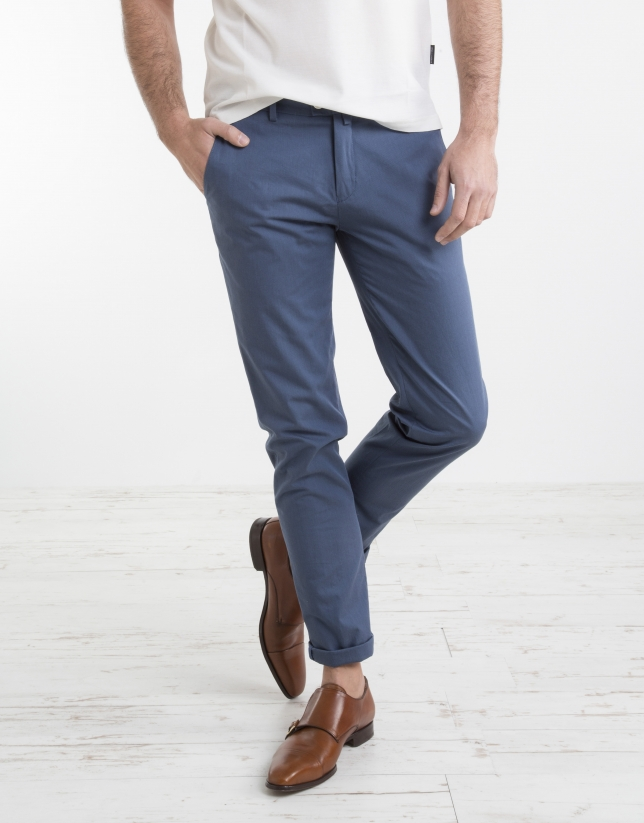 Blue structured chino pants