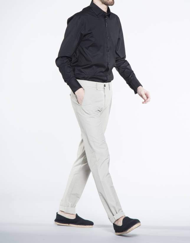 Beige cotton sports pants