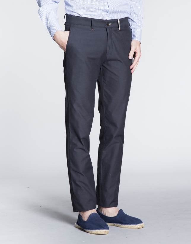 Navy blue light cotton sports pants