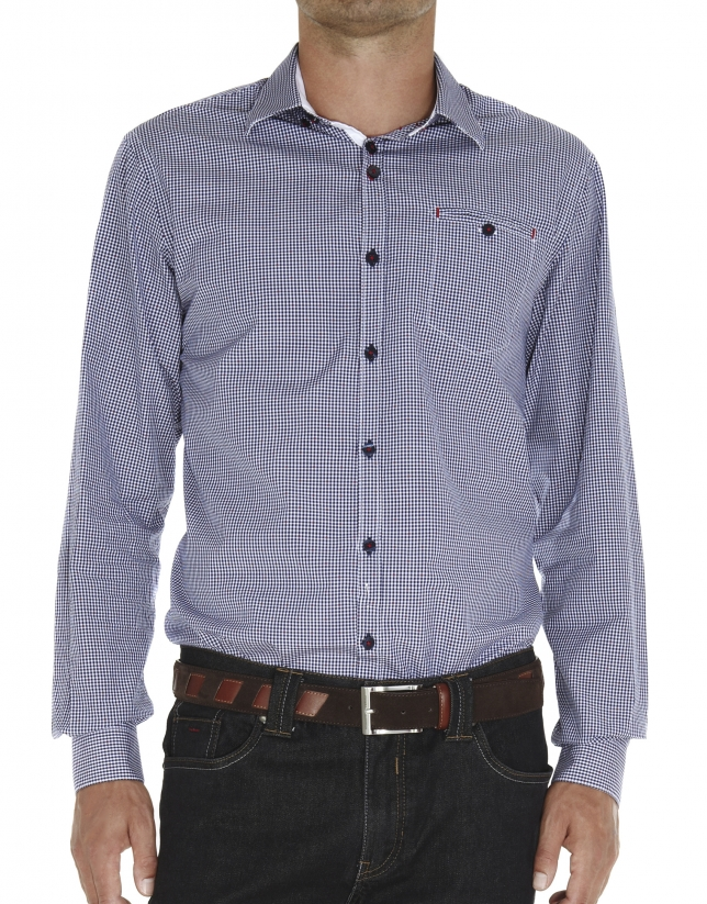Checked fil coupé sport shirt