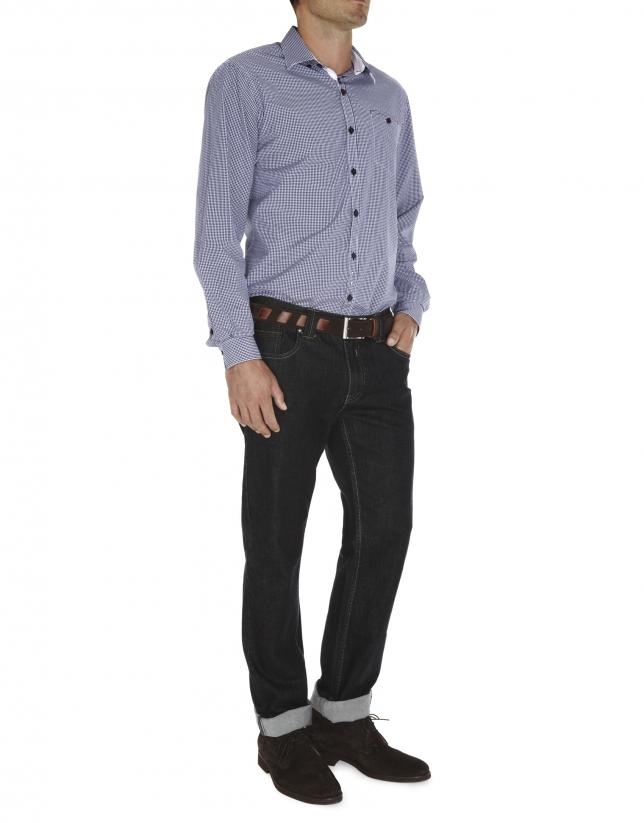 Checked fil coupé sport shirt