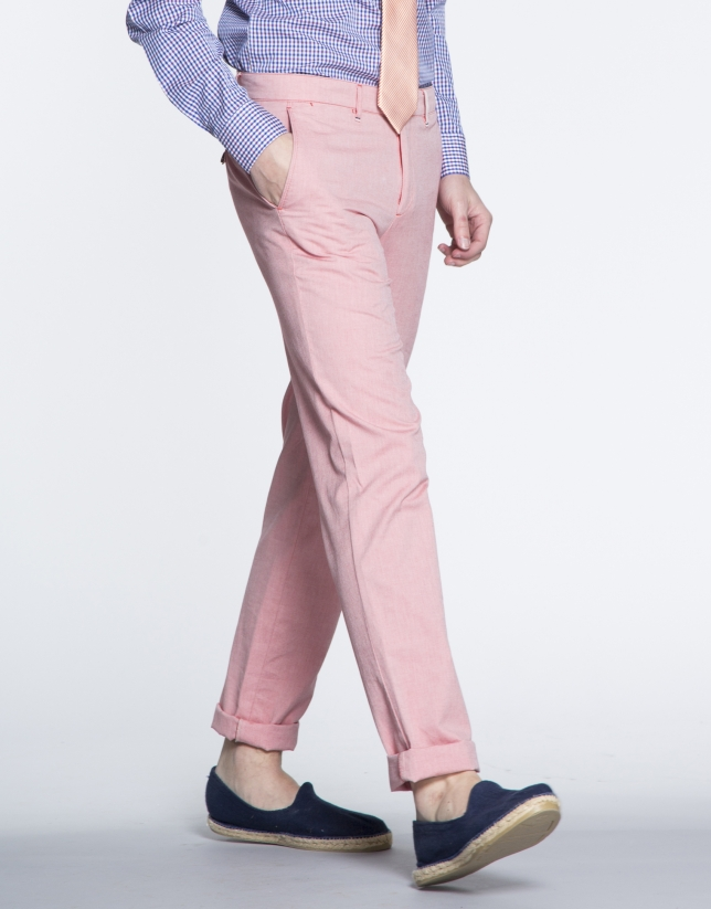 Pantalon ville Oxford coulor corail.