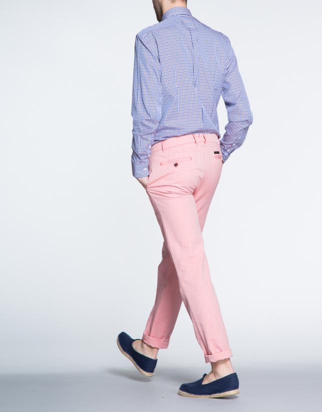 Pantalon ville Oxford coulor corail.