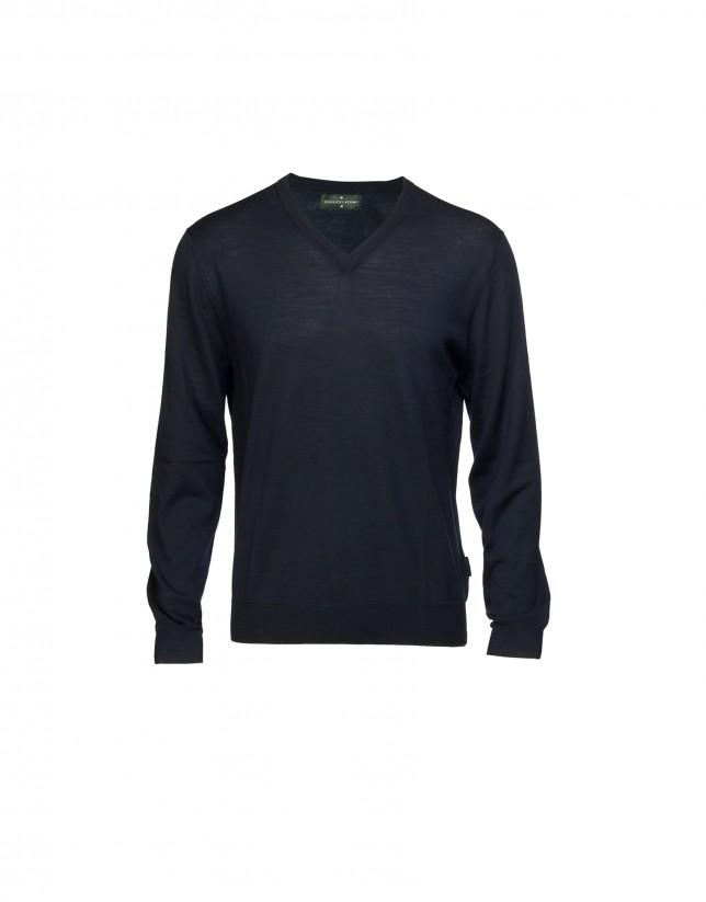 Blue V-neck pullover