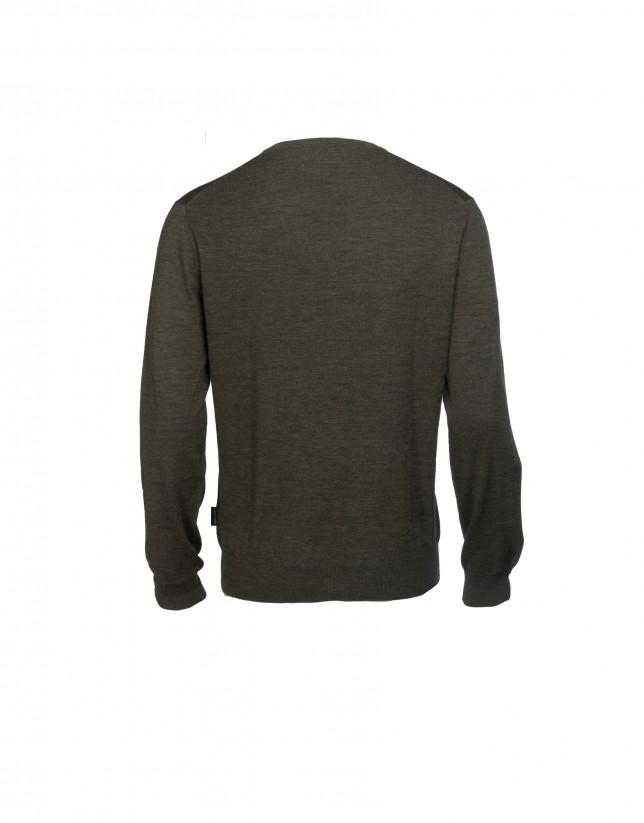 Khaki v neck pullover