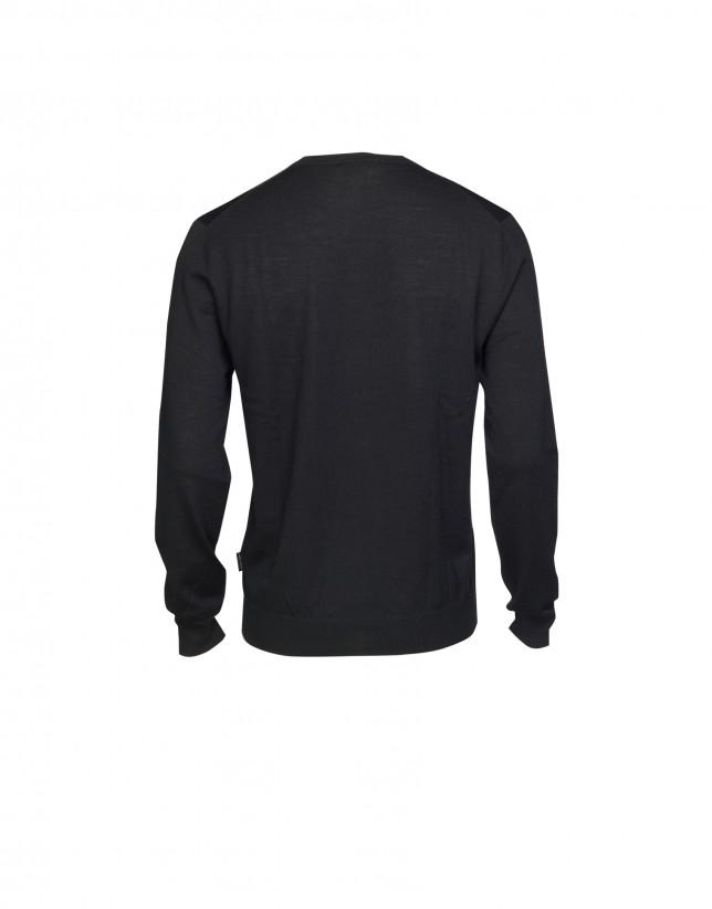 Jersey 100% lana en negro