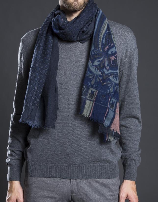 Foulard estampado gris azul