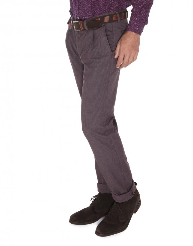 Pantalon ville, micro pied de poule