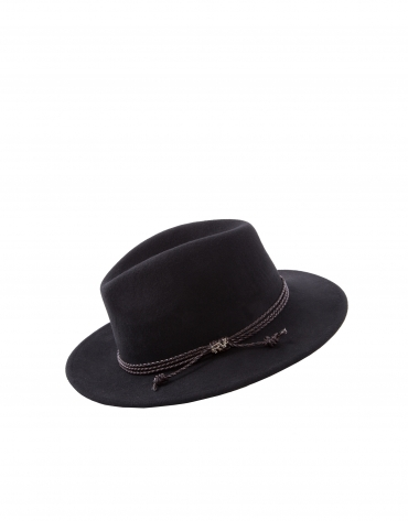Black felt hat with leather braid