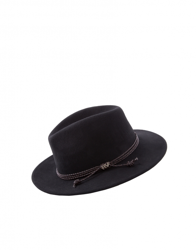 Black felt hat with leather braid