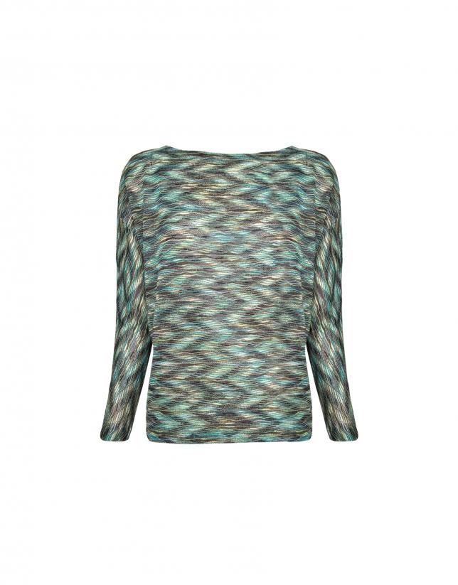 Camiseta manga murciélago estampado ondas verdes