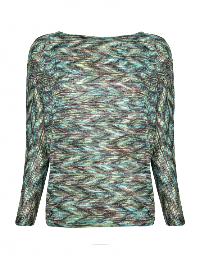 Green wave print top with bat sleeves