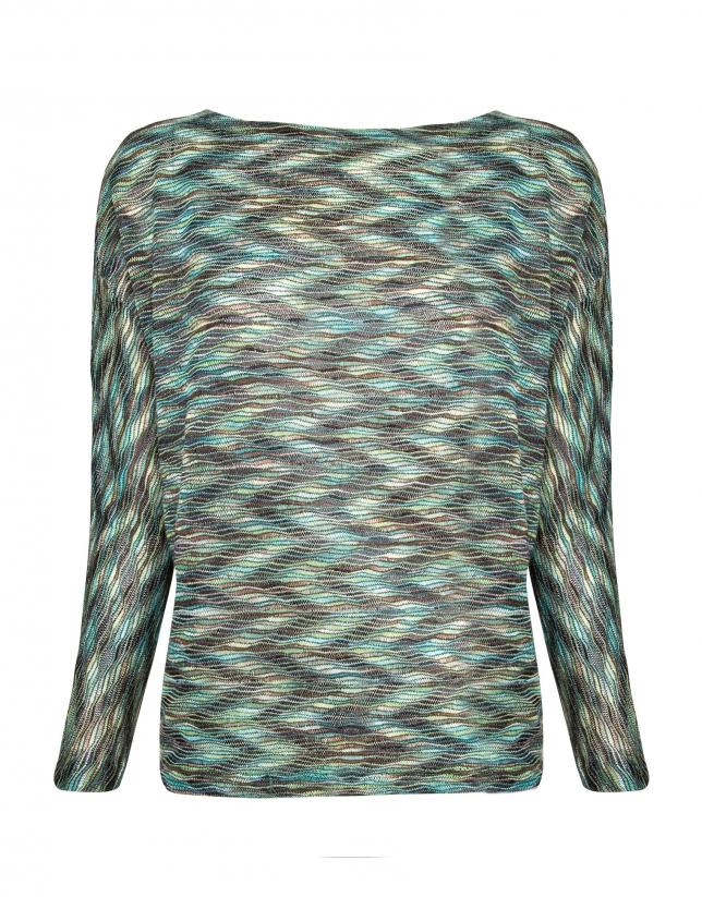 T-shirt à manches chauves-souris motifs de vagues vertes