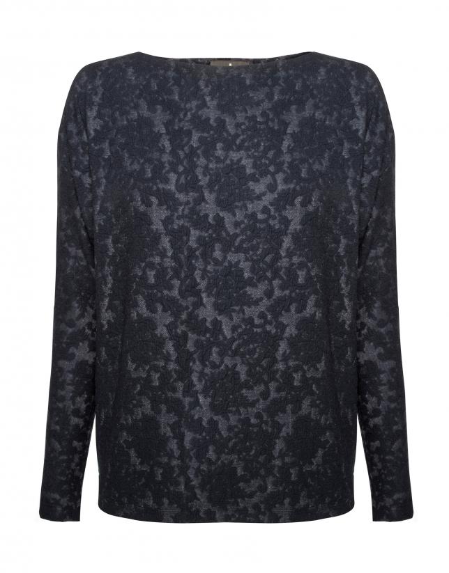 Camiseta manga murciélago tejido cloqué azul