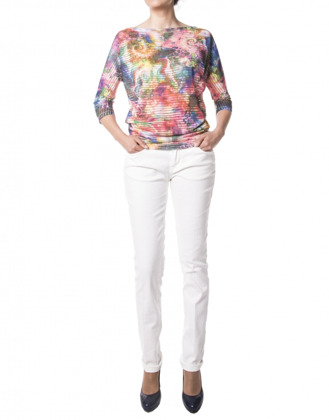 Green floral print French sleeves t-shirt