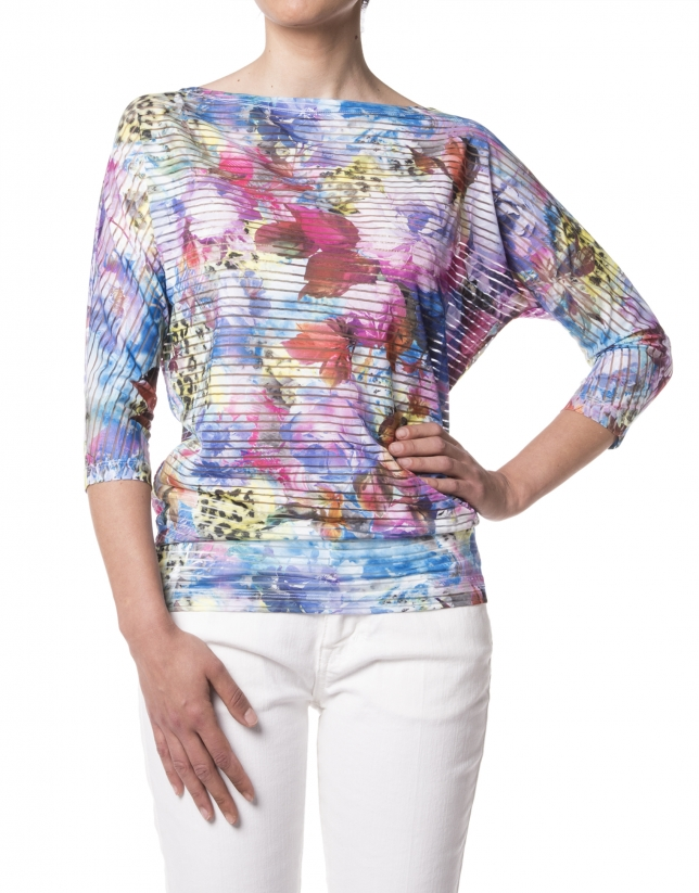 Yellow floral print French sleeves t-shirt