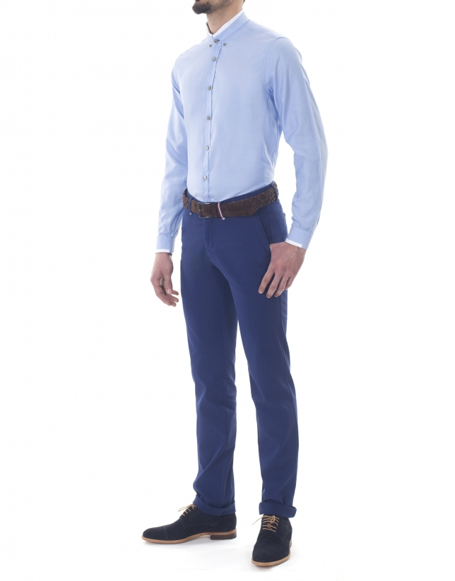 Blue Oxford sport premium fit shirt