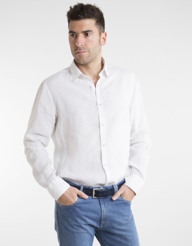 White shirt with false Mao collar