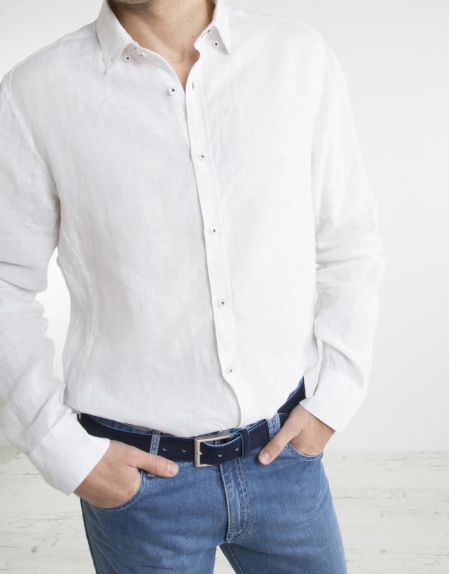 Camisa falso cuello Mao blanca