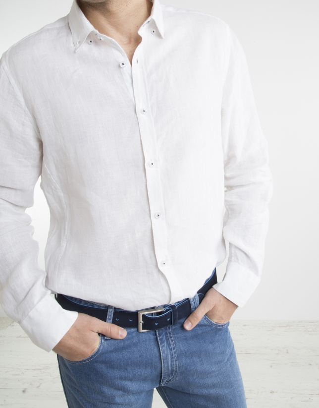 White shirt with false Mao collar
