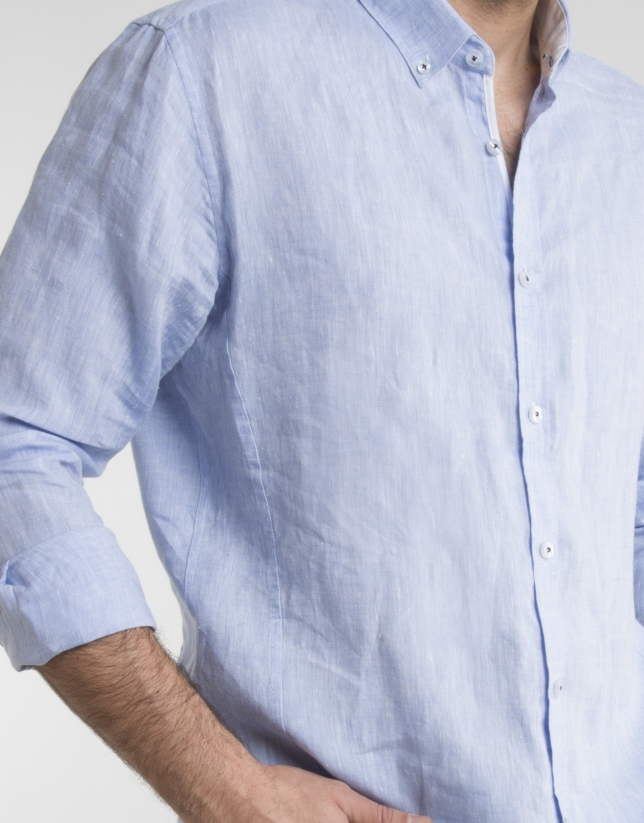 Chemise faux col mao bleu ciel