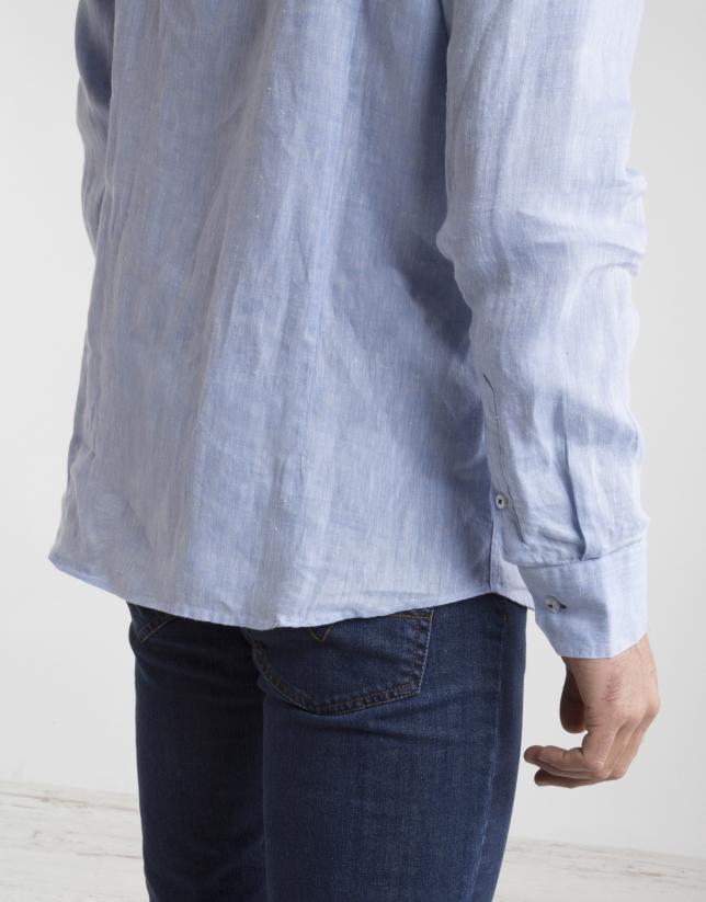 Camisa falso cuello Mao celeste