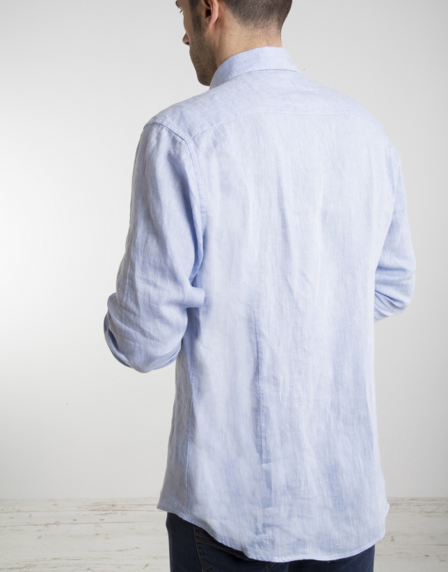 Light blue shirt with false Mao collar