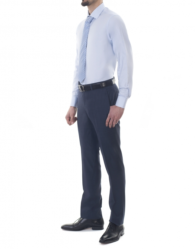 Light blue microprint premium fit dress shirt