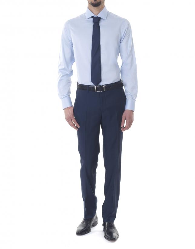 Light blue jacquard premium fit dress shirt
