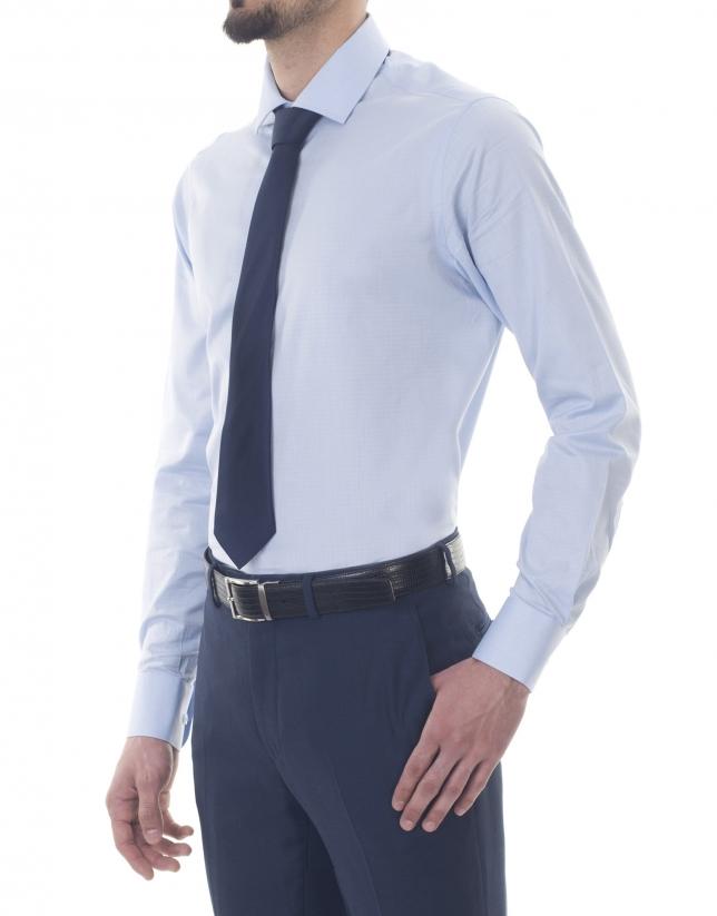 Chemise costume jacquard bleu azur
