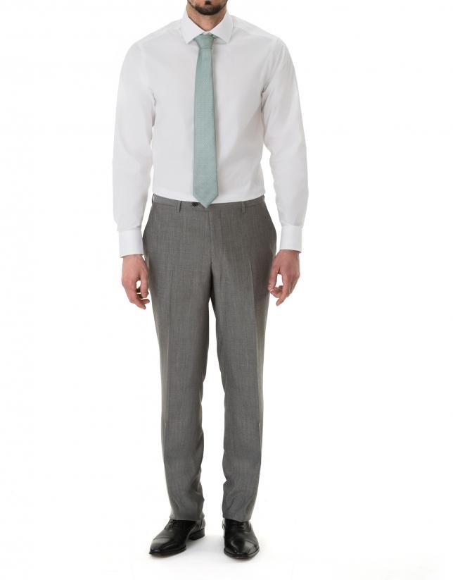 Chemise costume jacquard blanc