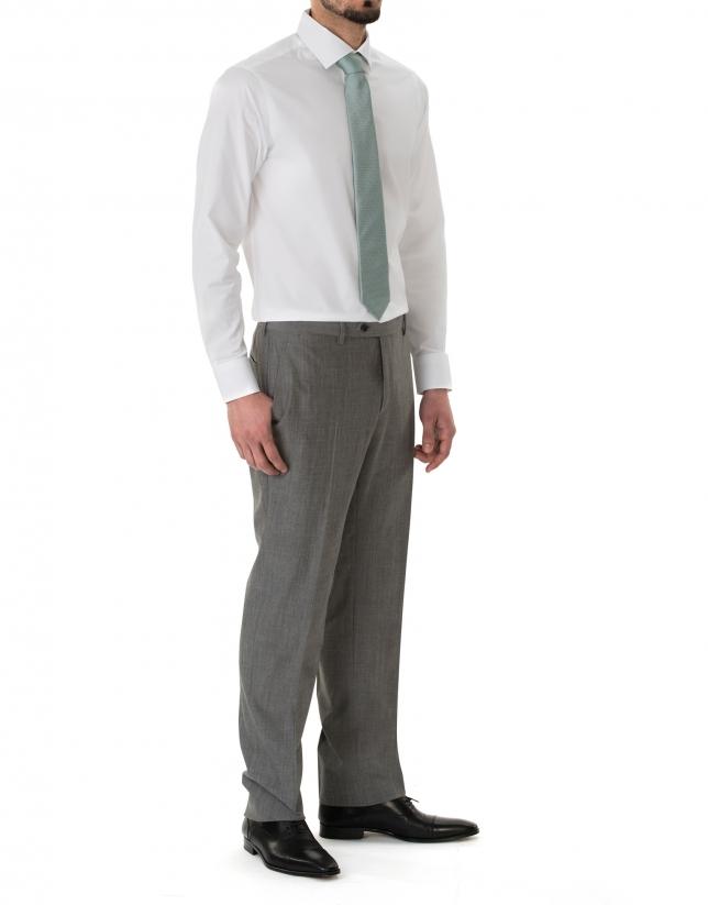 White jacquard premium fit dress shirt