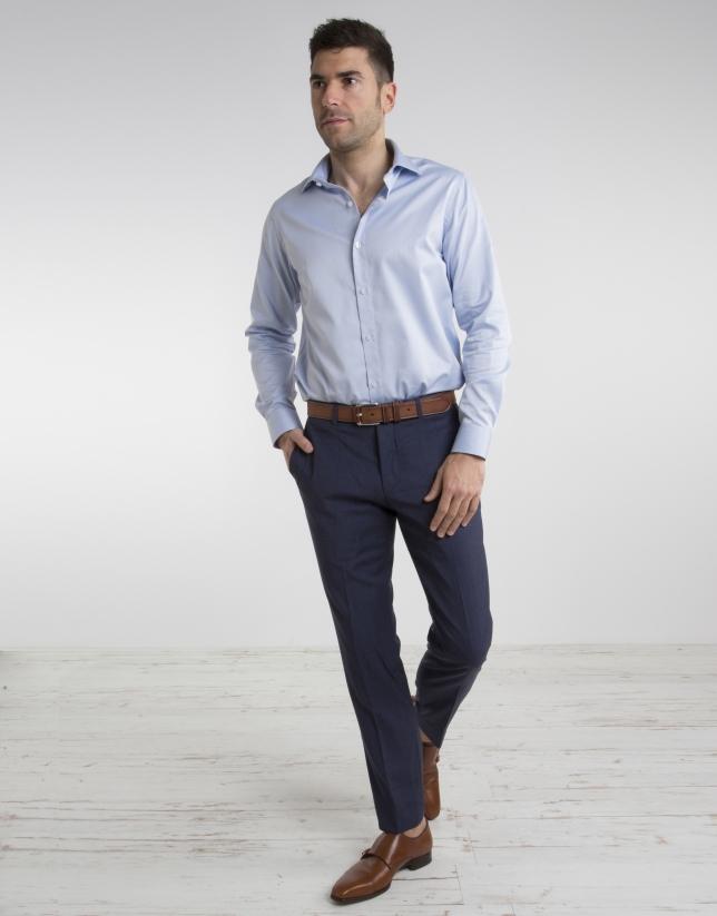 Chemise de costume à microstructure bleu ciel