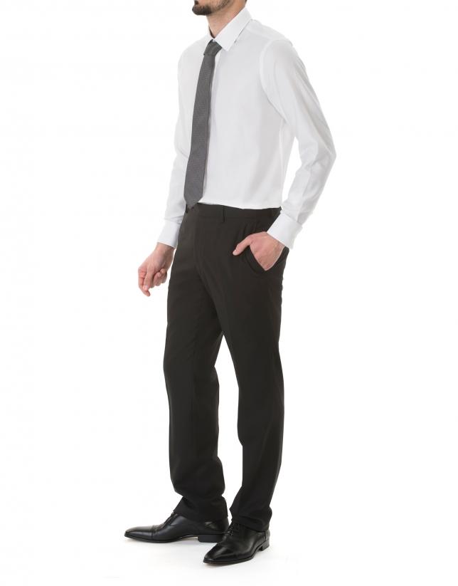 Camisa vestir microdibujo blanco