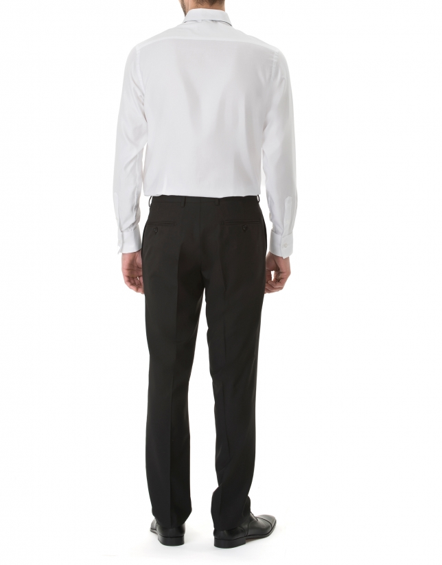 Chemise costume blanche à micromotifs