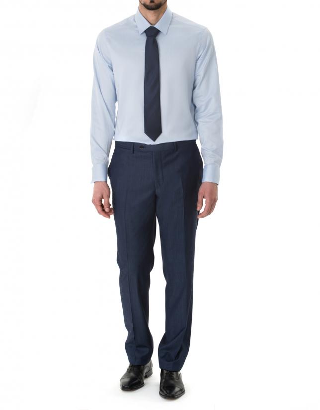 Chemise costume bleu à micromotifs