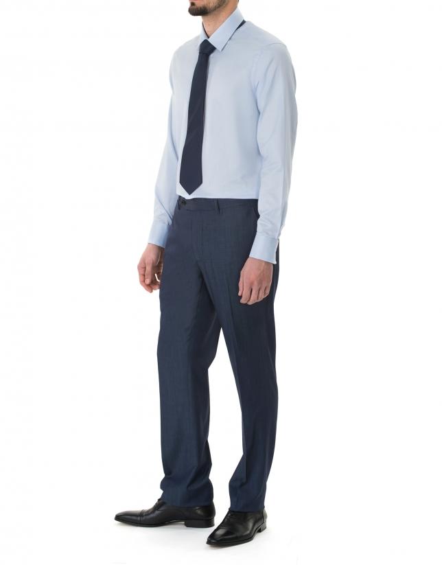 Camisa vestir microdibujo celeste